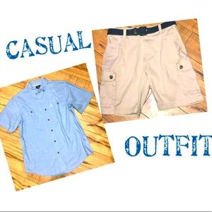 Button down Short sleeve and Cargo Shorts L/32